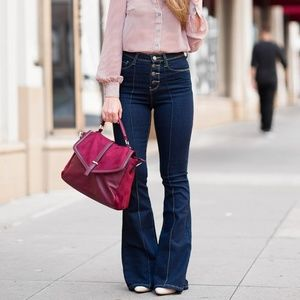 Modcloth button fly flare dark wash jeans